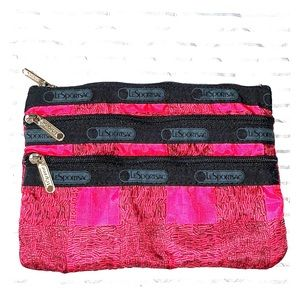 LeSport cosmetic case red and black 3 zipper